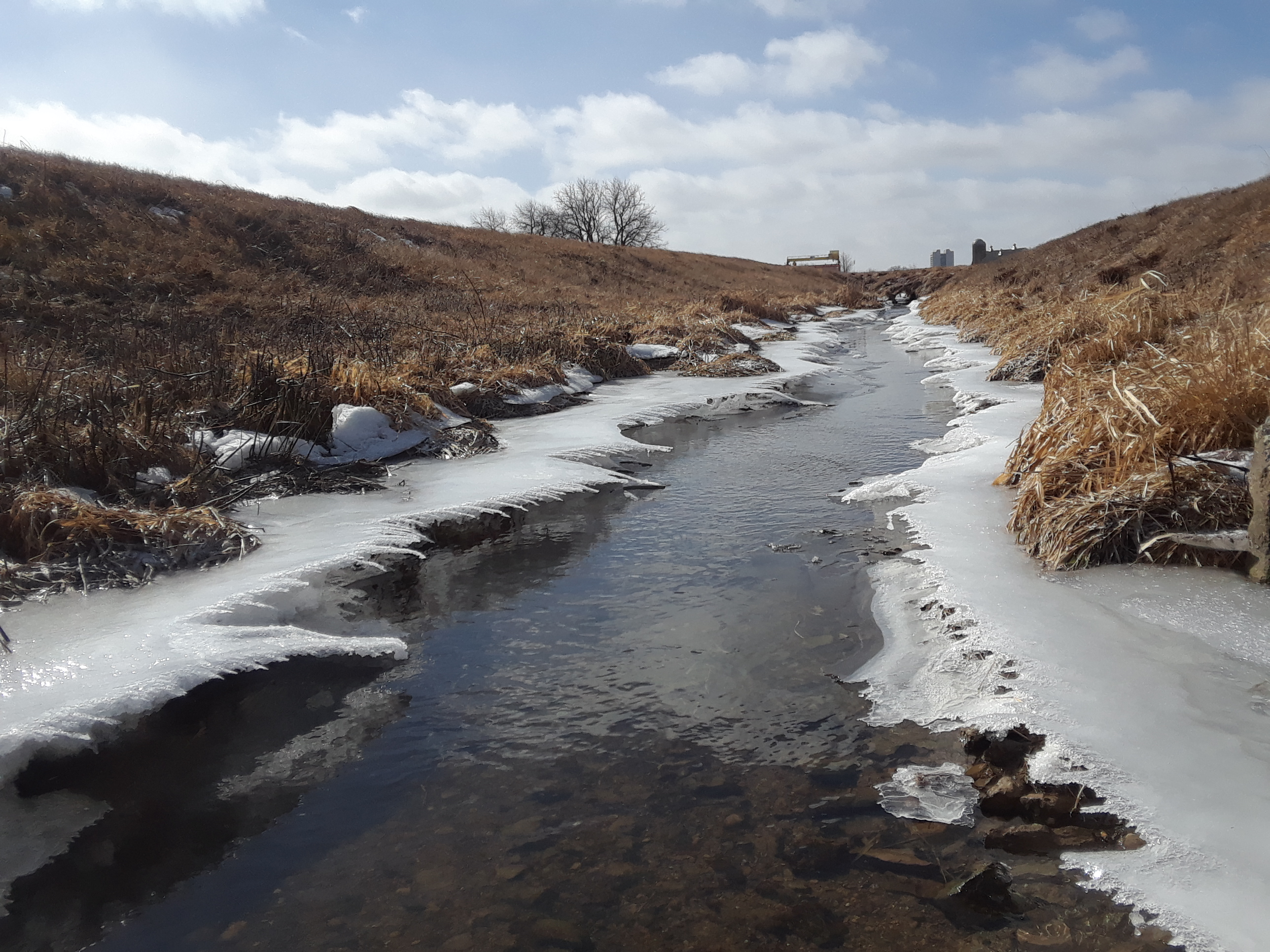 "(1/2) Ice shelves have formed in the Road C Creek, here seen from above. You can compare them to <a href=""http://news.fnal.gov/2018/02/ice-shelf/"">photos of the same creek taken on Dec. 8, 2017</a>. nature, landscape, water, winter, snow, ice, creek, sky Photo: Luciano Elementi"