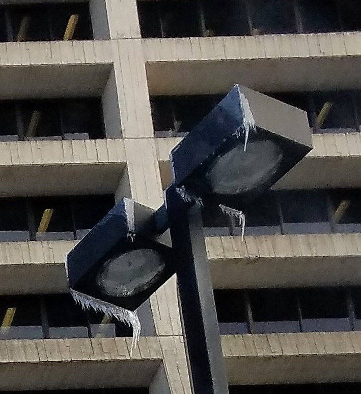 This photo of wind-blown icicles on a lamp in the  Wilson Hall parking lot was taken Wednesday evening, Feb. 13. winter, ice, everyday objects Photo: Paul Melull