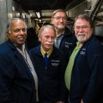 For the March 5 tornado drill, these spiffy folks were all wearing their stylish Accelerator Division jackets. From left: Philip Varghese, Dan Schoo, Gianni Tassotto and Elliott McCrory. This is the tornado shelter for the Transfer Gallery. people Photo: Alexei Semenov