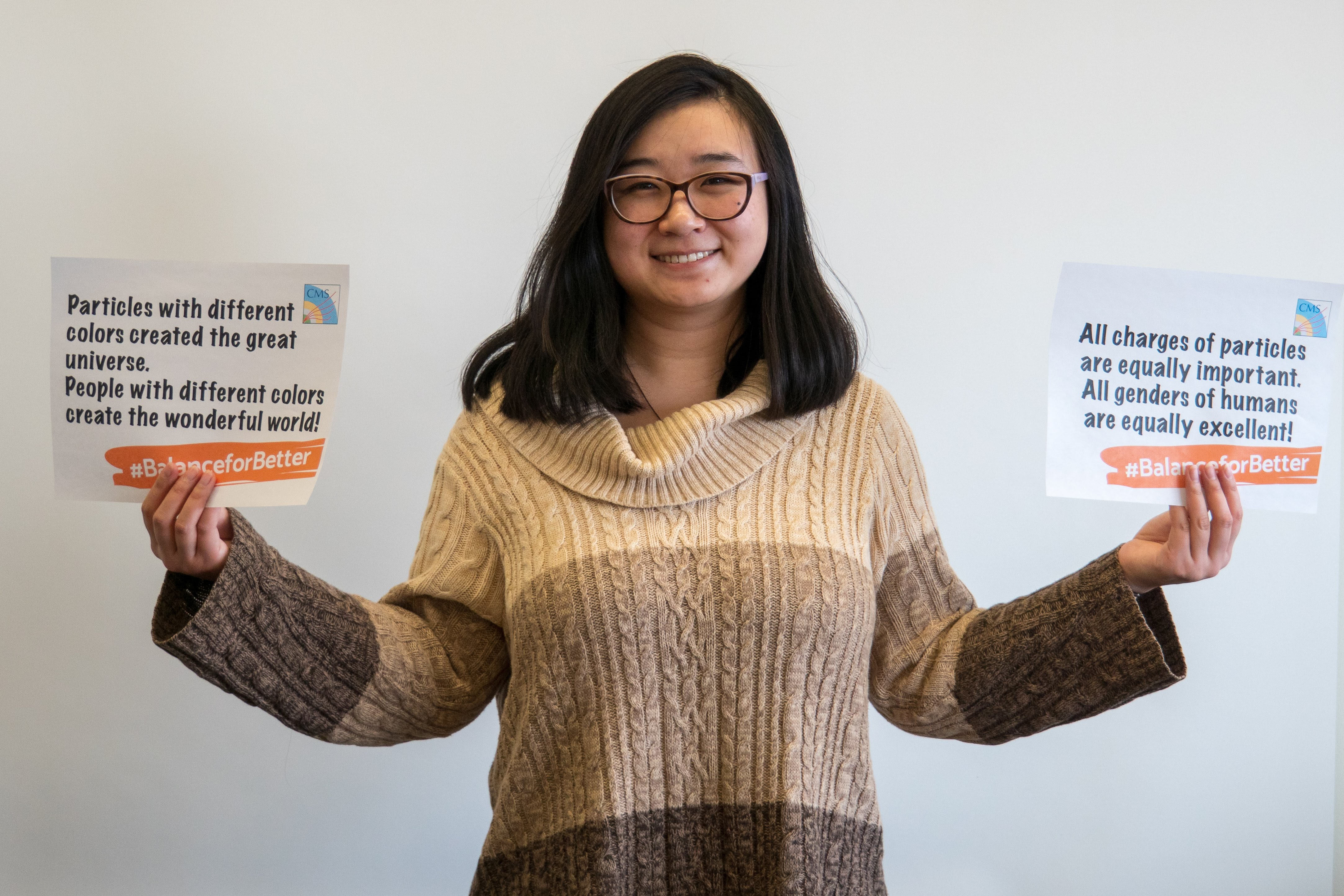 (3/3) Xuan Chen has two messages about #BalanceForBetter: Particles with different colors created the great universe. People with different colors create the wonderful world! All charges of particles are equally important. All genders of humans are equally excellent! people, diversity Photo: Marguerite Tonjes