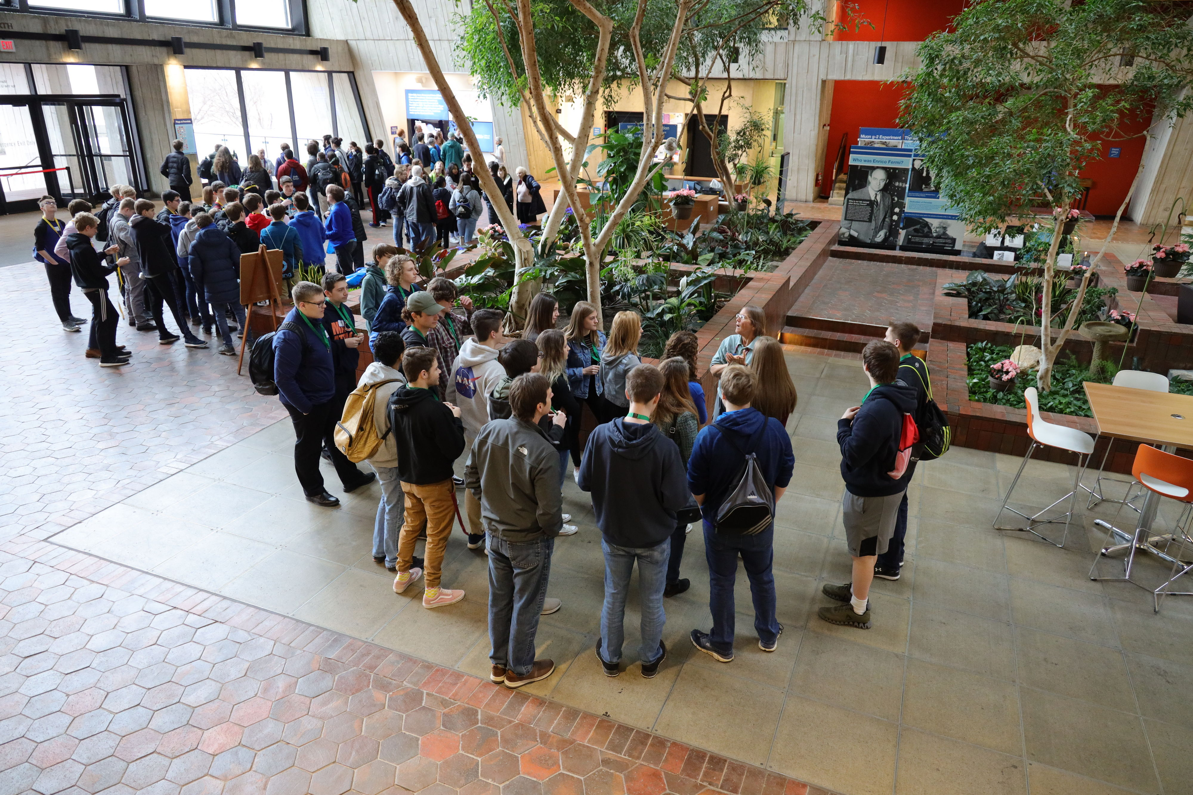 Tons of high schoolers toured the lab in March. On March 20, the atrium was FULL of students at 10 a.m. people, education, outreach Photo: Elliott McCrory
