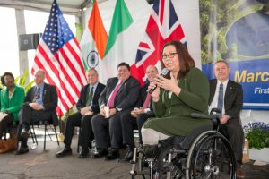 """Senator Tammy Duckworth described Fermilab as a """"uniting place where we bring scientists from all around the Earth to answer the questions of humanity."""" Photo: Reidar Hahn"""