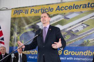 Congressman Sean Casten praised the cutting-edge nature of Fermilab's work. Photo: Reidar Hahn