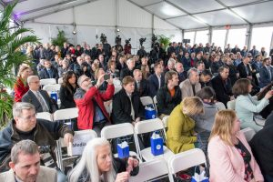All eyes are on the invited speakers at the PIP-II groundbreaking ceremony on March 15. Photo: Reidar Hahn