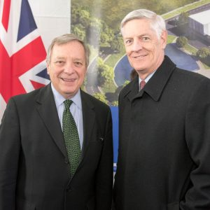 Senator Dick Durbin, left, and Fermilab Deputy Director for LBNF Chris Mossey pose for a photo after the speeches. Photo: Reidar Hahn