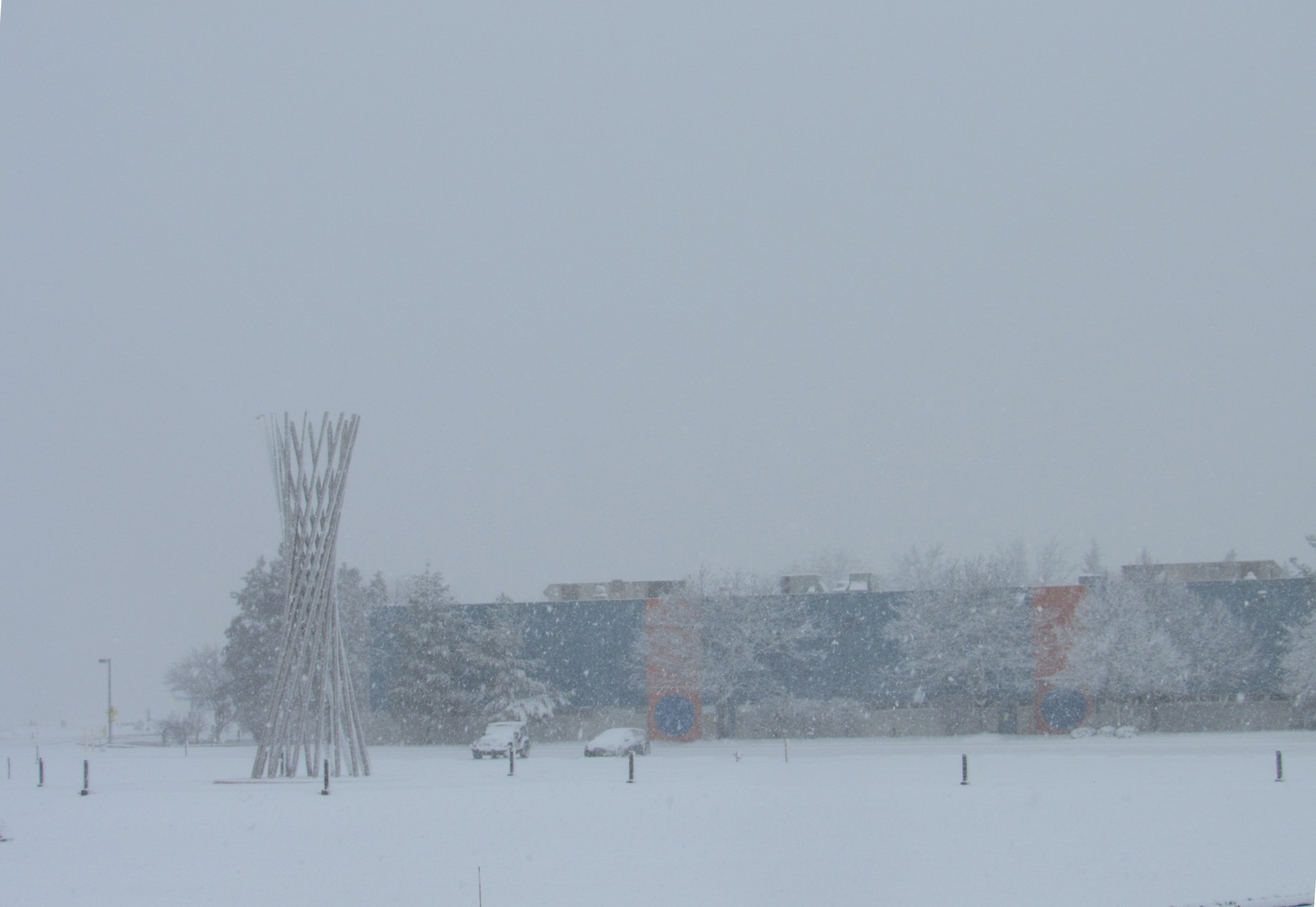 (2/3) The Technical Campus and Tractricious are in mid-April snow. nature, landscape, winter, spring, snow, sky, sculpture, Tractricious Photo: Luciano Elementi