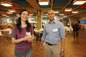 Yun He and Bo Jayatilaka are co-leaders of Fermilab's Asian/Pacific American community. Photo: Alex Chen
