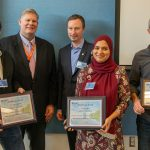 Grzegorz Deptuch, Mike Weis, Tim Meyer, Farah Fahim, Tom Zimmerman. Deptuch, Fahim and Zimmerman received U.S. patent 10084983 for a wafer-scale pixelated-detector system. Photo: Al Johnson