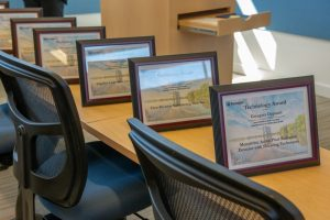 The awards are lined up and ready for presentation. Photo: Al Johnson
