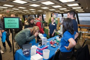 High school students meet with STEM professionals at Fermilab's annual STEM Career Expo. Photo: Reidar Hahn