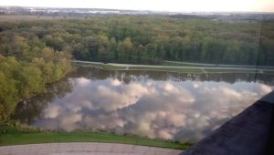 Images of clouds fill Swan Lake early one morning as seen from the 14th floor of Wilson Hall. nature, landscape, pond, lake, wtaer, sky, cloud, woods, tree, plant Photo: David Huffman
