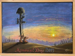 Happy Memorial Day. This chalk drawing is located on the third floor of HAB in the Design Drafting Group. art Drawing: Julie Vander Meulen