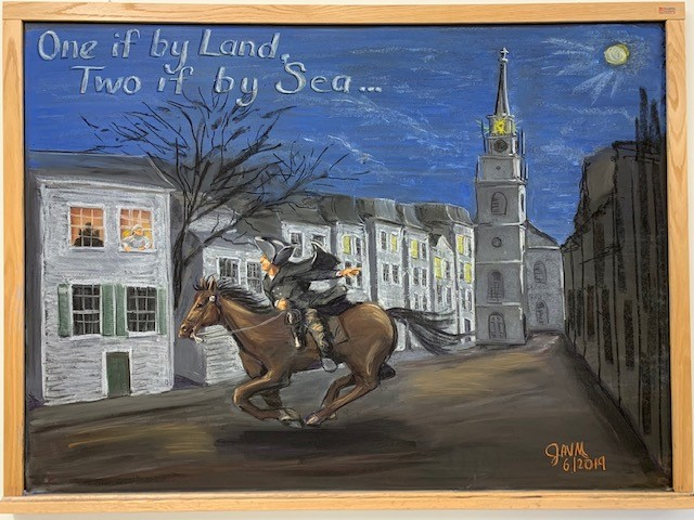 Julie Vander Meulen's latest chalkboard celebrates Independence Day. You can view it on the third floor of HAB. holiday, art Drawing: Julie Vander Meulen
