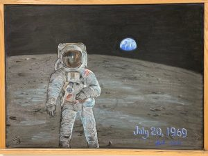 In honor of the 50th anniversary of the first moon landing on July 20, 1969, Julie Vander Meulen, created this chalk drawing, which can be viewed on the third floor of HAB. art Image: Julie Vander Meulen