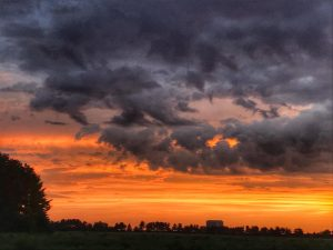 (2/4) Clouds add colors to the sunset sky. This picture was taken in the Fermilab Village. sunset, sky, cloud, nature, landscape Photo: Sudeshna Ganguly