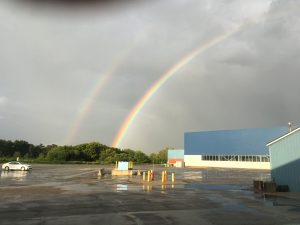 (1/5) A rain squall passed through Fermilab early in the evening of Aug. 13 over the Technical Campus. As the western sun broke through the clouds, a brilliant double rainbow appeared. The photographer didn't search for the pot of gold in the middle of the bison pasture. nature, landscape, sky, rainbow, cloud Photo: David Harding