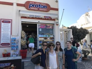 One current employee and three former Fermilab students hope to buy some protons in Santorini, Greece. people Photo: Anne Heavey