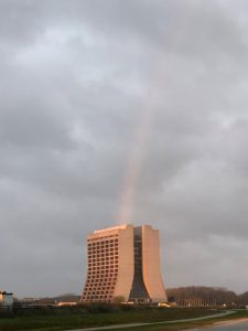 The end of the rainbow is in Wilson Hall. This photo was taken on Monday morning, Oct 21. Photo: Tim Niemiec nature, landscape, sky, rainbow, building, Wilson Hall Photo: Tim Niemiec