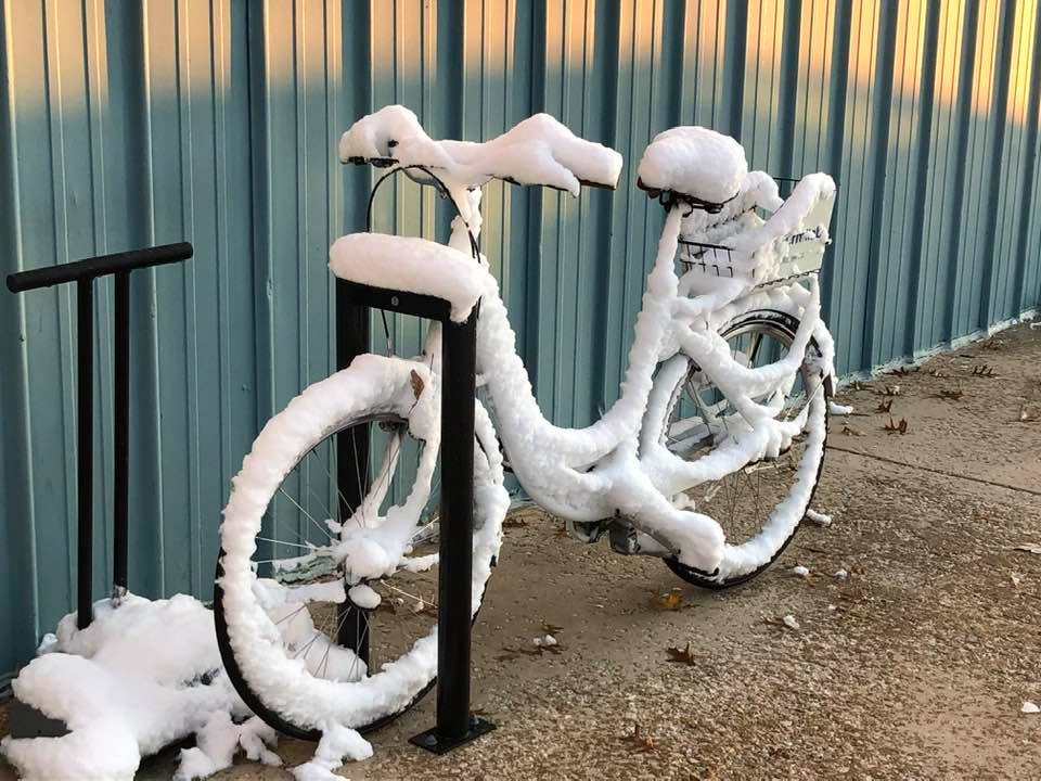 By the early morning of Nov. 1, the snow had blanketed this bike. Not good for its next rider, but what a pretty picture! nature, snow, winter, everyday objects Photo: Maredith Stoffel