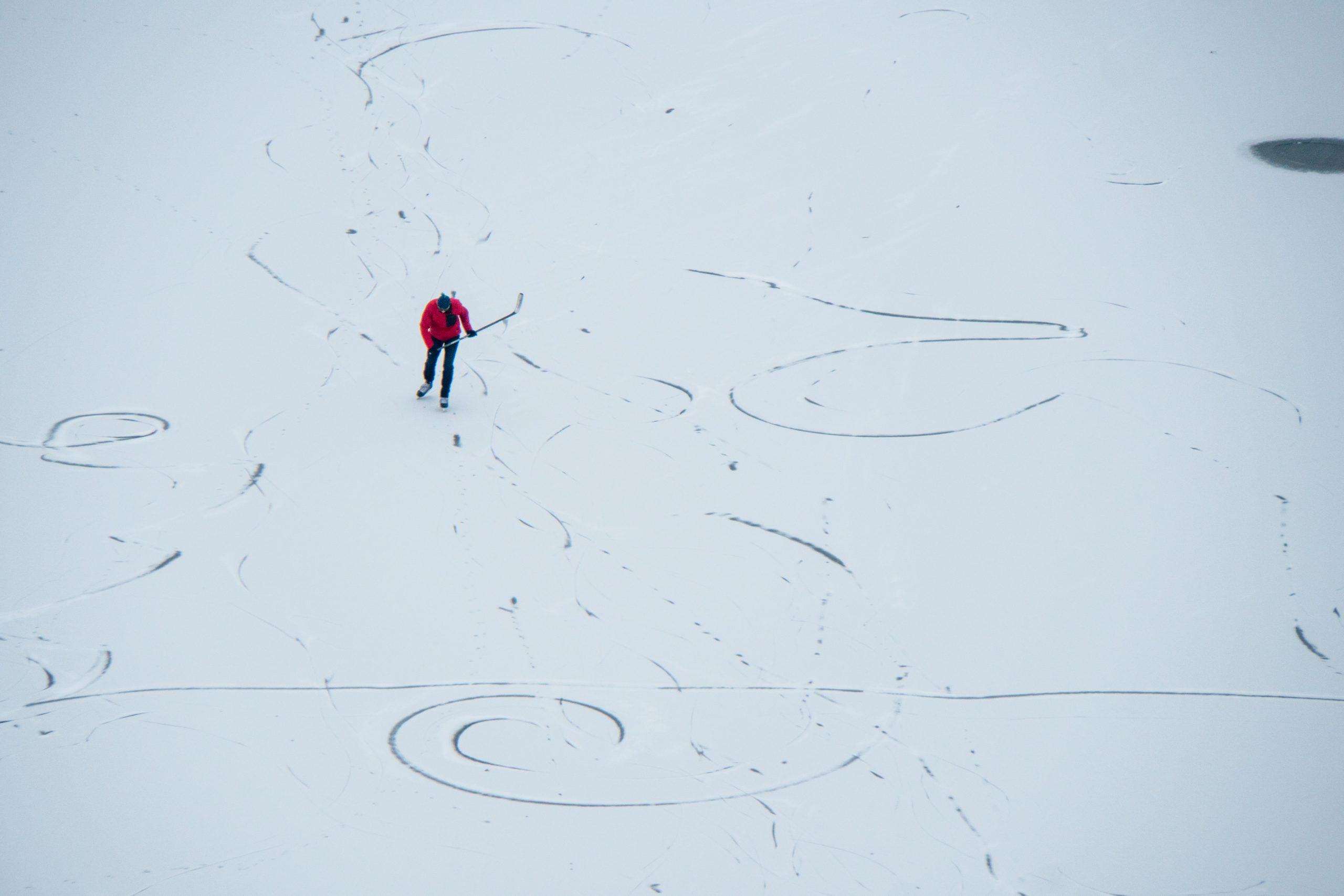 (2/2) Are these particle tracks or skate tracks? people, winter, lab life, snow Photo: Marguerite Tonjes
