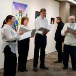 The Fermi Singers performed at the opening reception of the Employee Art Show on Jan. 15. people, arts, art Photo: Georgia Schwender