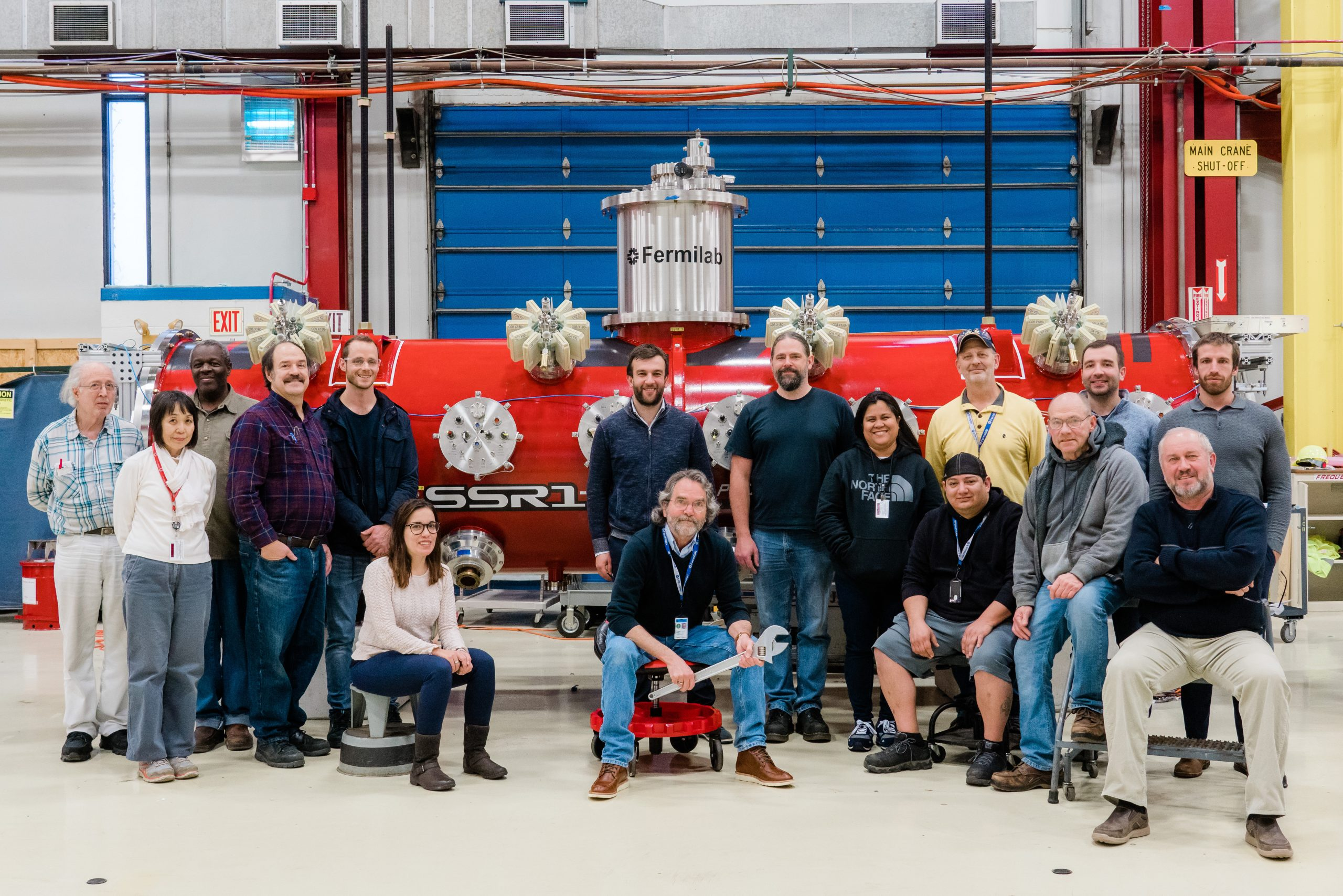 (4/4) Some of the engineers, technicians, and welders who have been working on SSR1 get together for a picture. PIP-II, accelerator, accelerator technology, cryomodule, people Photo: Tom Nicol