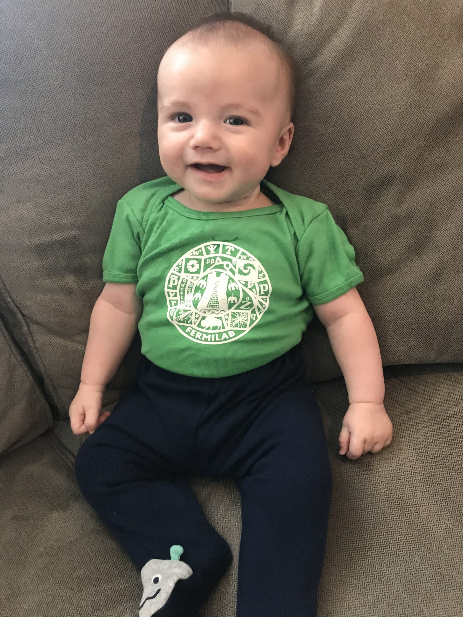 (2/2) Noah's in a green Fermilab onesie. people Photo: Mary Cook