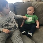 "(1/2) Big brother Joey says to little three-month-old brother Noah, ""I like that shirt."" people, logo Photo: Mary Cook"