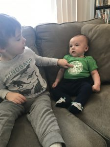 """(1/2) Big brother Joey says to little three-month-old brother Noah, """"I like that shirt."""" people, logo Photo: Mary Cook"""