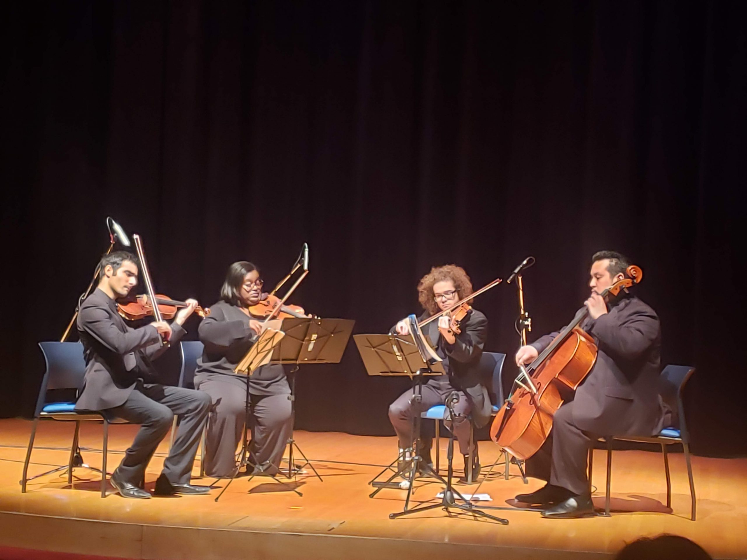 """On Thursday, Feb. 20, the <a href=""""http://www.chicagosinfonietta.org/education/project-inclusion/piof/"""">Chicago Sinfonietta</a>'s Project Inclusion performed at Fermilab in Ramsey Auditorium as part of Inclusion Matters 2020. """"Project Inclusion started in 2008 to provide promising, diverse musicians a fellowship for one to two years. The goal is to identify, train, mentor and ready orchestra musicians beginning their pursuit of a professional career — musicians from diverse backgrounds including, but not limited to, diverse racial, ethnic, socioeconomic and geographic backgrounds, that are traditionally underrepresented in orchestras."""" From left: Fahad Awan on violin; Caitlin Edwards on violin; Seth Pae on viola; Victor Sotelo on cello. people, diversity, inclusion, arts Photo: Justine Dunn"""