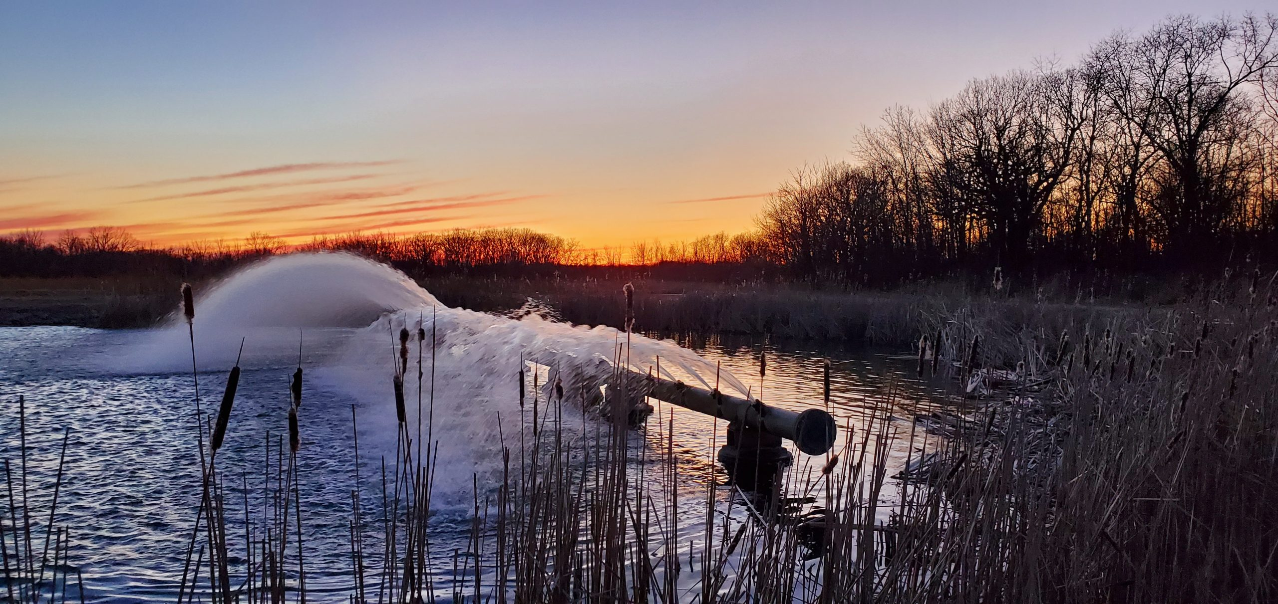 The photographer captured this sunset and the MI60 cooling spouts in Cooling Pond A on March 4. nature, landscape, sunset, water, pond, sky, winter Photo: Kelly Sedgwick