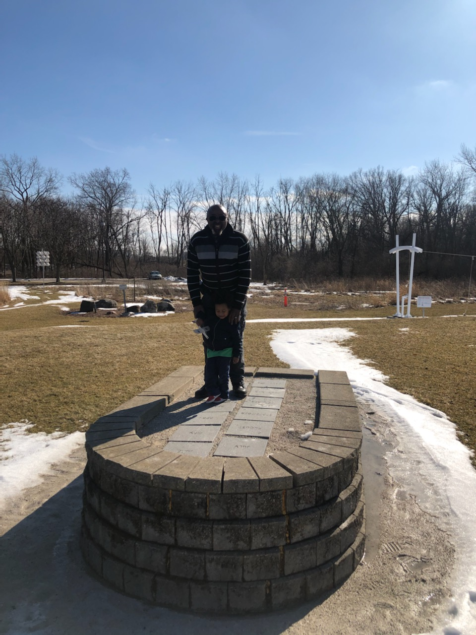 Flashback Friday: Zion and Grandpa stand on the sundial. This photo was taken at 1:59 p.m. on Feb. 18. people Photo: O'Sheg Oshinowo