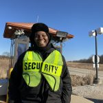 "The guard at the Pine Street gate greets you with a ""Happy Friday"" after checking your Fermilab ID. The greeting always cheers the photographer. (The photographer was sure to keep her distance while taking the photo.) people Photo: Marguerite Tonjes"