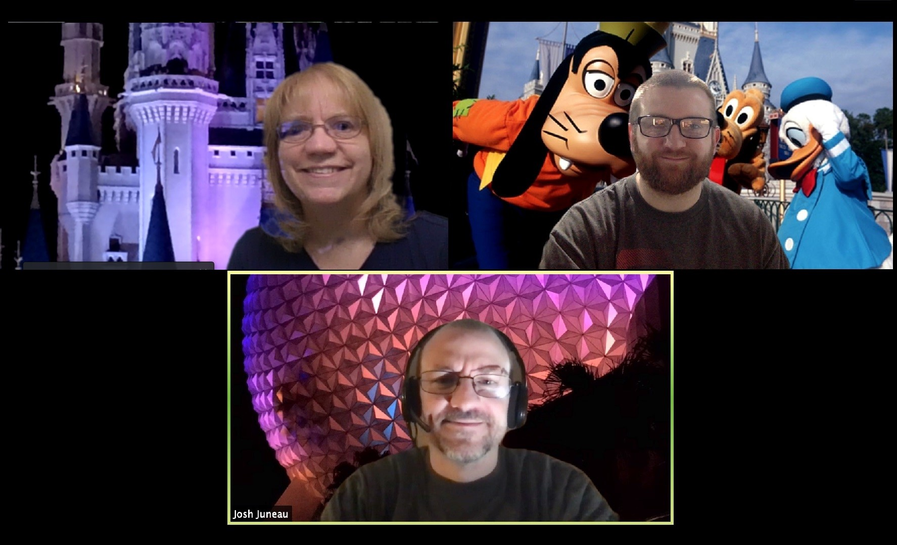 """Zoom videoconferencing lets participants select their own green-screen backgrounds. """"In every job that must be done, there is an element of fun."""" — Mary Poppins. Pictured clockwise, from top left: Kris Brandt, Kevin Coppert and Josh Juneau. people Photo: Kris Brandt"""