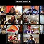 """Xuan Chen hosted """"The Great Fermilab Bake-Off"""" by videoconference with Saturday afternoon competitions. The event was announced on the fnalgrad mailing list. Food was described by each participant for everyone to vote on their three favorites. Episode 1 had a variety of baked goods from savory to sweet. people Screenshot: Xuan Chen"""