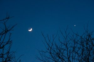 The moon and Venus were close on the evening of Feb. 27. This is the view just outside the Fermilab gym. night, sky, moon, planet Photo: Marguerite Tonjes