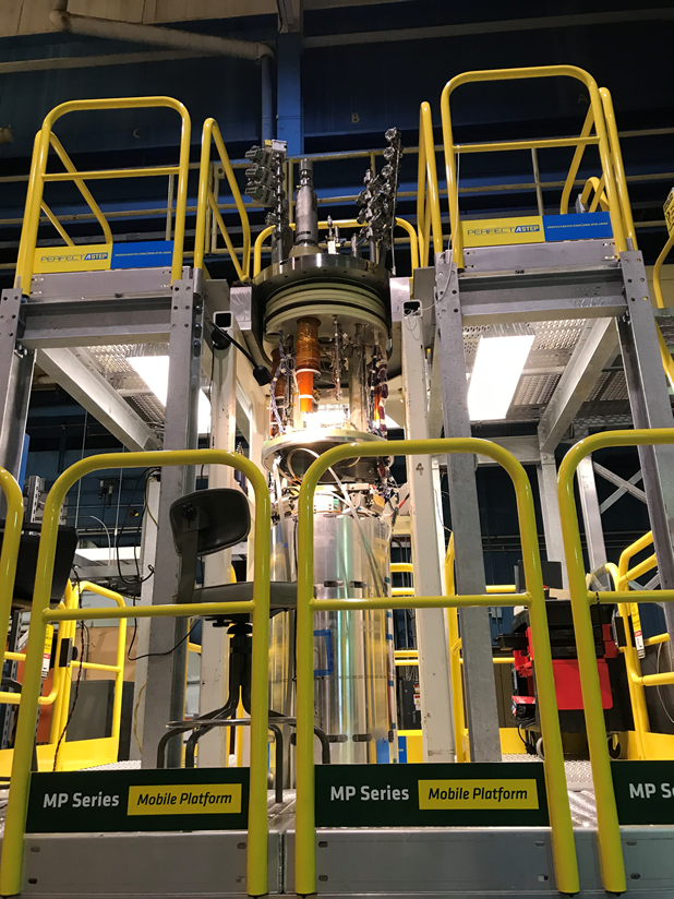 The magnet gets ready for a test at Brookhaven National Laboratory.