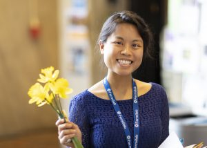 Throwback Thursday: Cindy Joe holds happy little daffodils in the MCR in April 2018. people Photo: Marty Murphy
