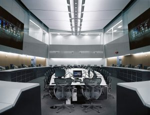This shows the main meeting room at the State Emergency Operations Center in Springfield, Illinois. Photo: LVD Architecture