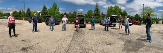 In May, the APS-TD Design Drafting Group held a socially distanced lunch gathering in a big empty parking lot away from the Fermilab site. people, lab life Photo: Julie Vander Meulen