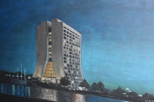 This chalk drawing of Wilson Hall was exhibited in the Fermilab Employee Art Show in 2018.art Drawing: Julie Vander Meulen