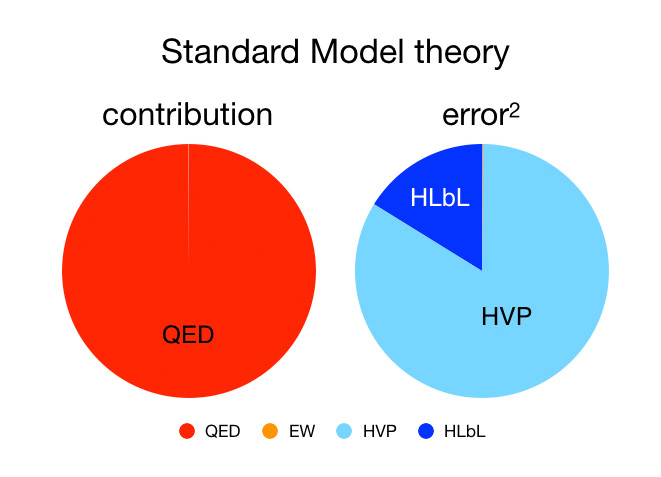 Standard Model theory: The chart on the left shows the contributions to the value of the anomalous magnetic moment from the Standard Model of particles and interactions. About 99.994% comes from contributions due to the electromagnetic force while the hadronic contributions account for only 0.006% (note the blue sliver). The right chart shows the contributions to the total uncertainty in the theoretical prediction. About 99.95% of the total error in the theoretical prediction is due the uncertainties in the hadronic corrections, while, at about 0.05% of the total error, the uncertainties in the electromagnetic and electroweak contributions are negligibly small. (QED – quantum electrodynamic forces; EW – electroweak forces; HVP – hadronic vacuum polarization; HLbL – hadronic light-by-light).