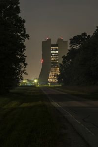 Wilson Hall emerges from the trees. nature, Wilson Hall, building, woods, tree, plant, night Photo: Steve Baginski