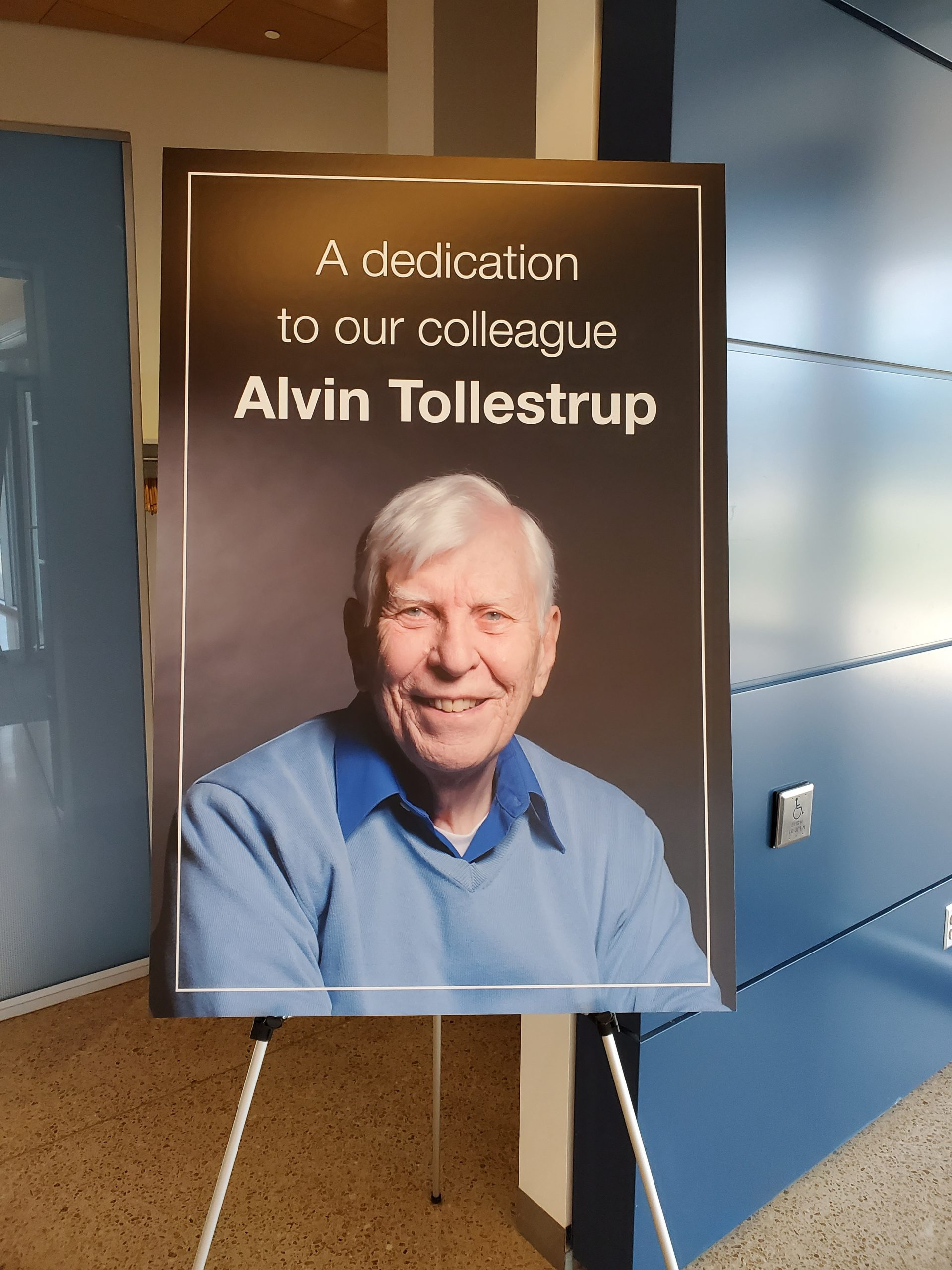 """Read the Fermilab news <a href=""""https://news.fnal.gov/2020/02/alvin-tollestrup-national-medal-of-technology-winner-dies-at-age-95/"""">tribute to Alvin Tollestrup</a>. people, building, IARC Photo: Julius Borchert"""