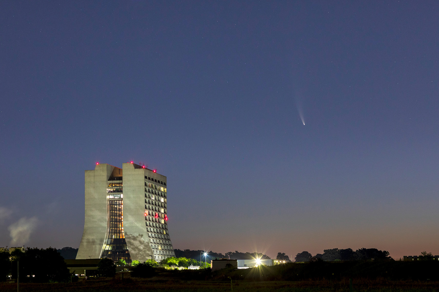 Comet NEOWISE flies by Wilson Hall early on July 13. nature, sky, night, Wilson Hall, building, comet Photo: Marty Murphy