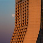 This scene was capture on July 6 as the sun was rising and the moon was setting. nature, landscape, sky, moon, building, Wilson Hall Photo: Marty Murphy