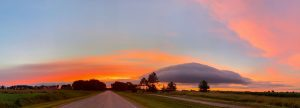 After the Aug. 10 storm passes, a panoramic view of the sky at sunset brings us shades of blue, grey and magnificent orange. nature, landscape, sky, sunset, storm, cloud Photo: Sudeshna Ganguly
