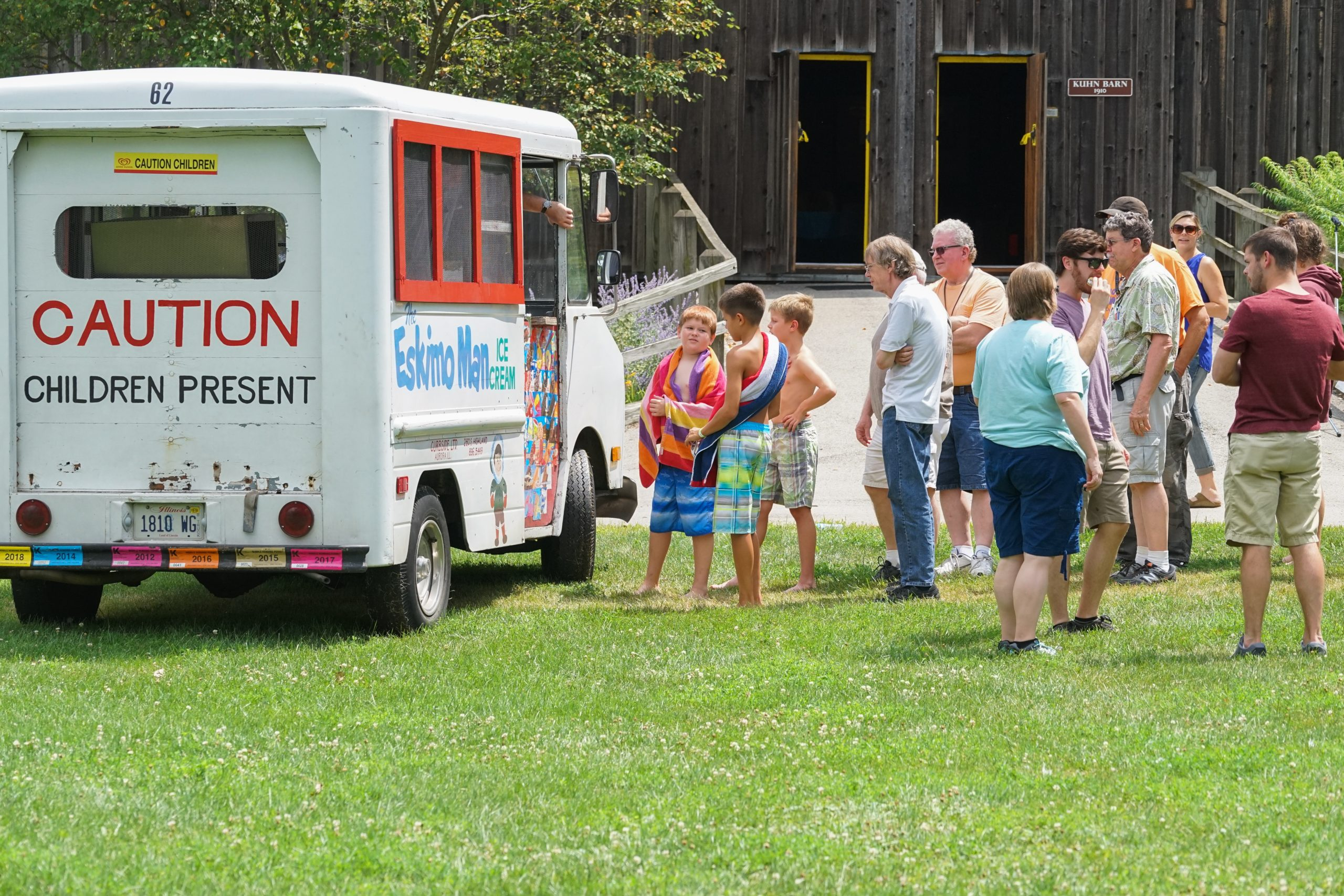 Folks line up at the ice cream truck. people, summer, lab life Photo: Leticia Shaddix