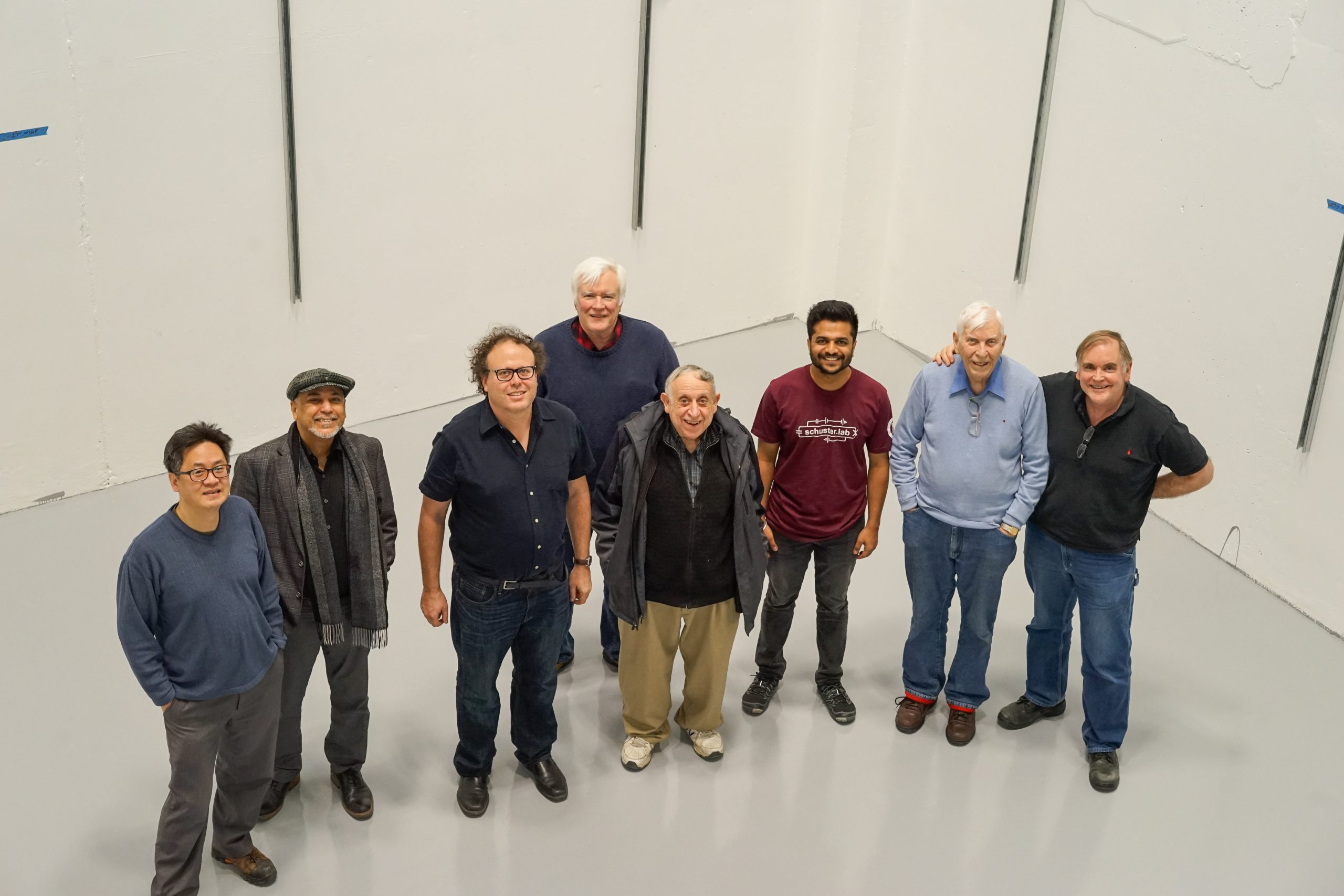 Flashback Friday: In February 2018, Scientists working on quantum sensor R&D to search for axion dark matter rejoice in their new space in Lab B. Among them is the late, great Alvin Tollestrup, second from the right. people Photo: Leticia Shaddix