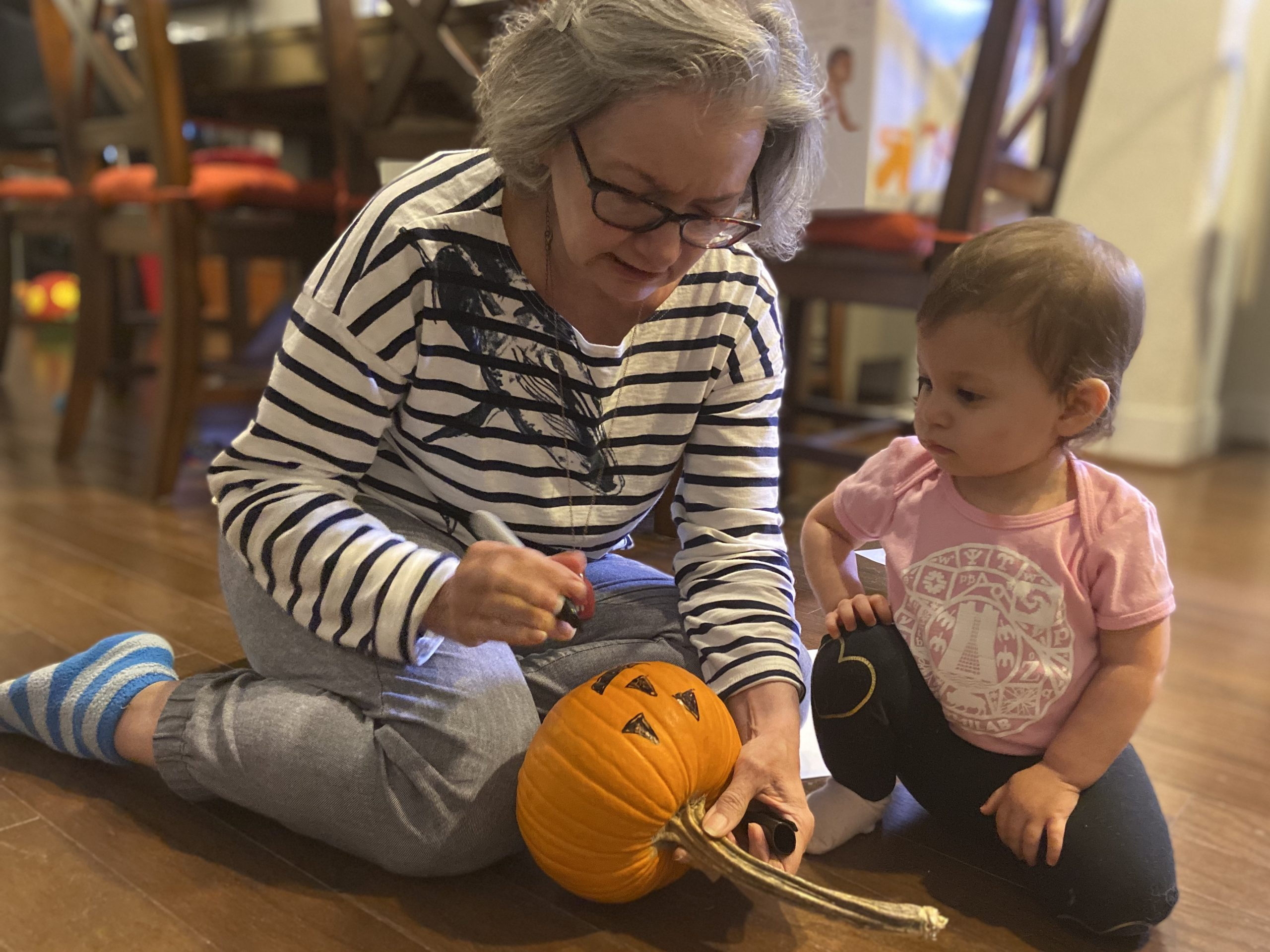 Aaron's mom and niece, in a Fermilab onesie, prepare for Halloween. Happy Halloween! people, holiday Photo: Aaron Sauers